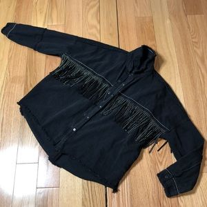 Black Denim Fringe Jacket
